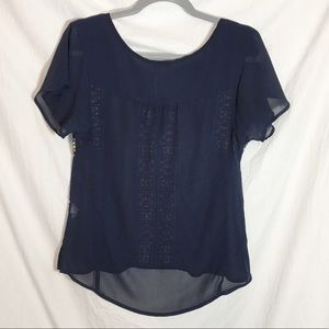 American Eagle Outfitters Tops - American Eagle Shear Navy Blue Peasant Blouse
